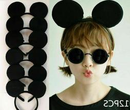12pc Minnie Mickey Mouse Ears Headbands Black Bow Birthday P