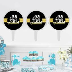 12pcs 50th Happy Birthday Cake Topper Creative Cake Cupcake