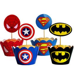 12Pcs Avengers Spiderman Batman label paper cupcake wrappers