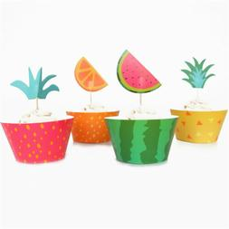 12PCS Cupcake Wrappers+12PCS Cake Toppers Fruit Platter Seri