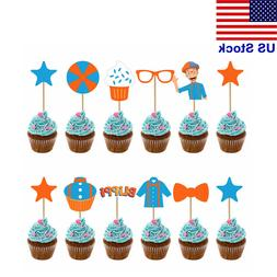 12pcs/set Blippi Cake Toppers Picks Cupcake Decor Kids Birth