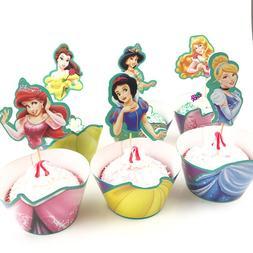 12sets Snow White Mermaid Princess <font><b>Cupcake</b></fon