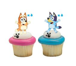 12x Edible Bluey & Bingo Wafer Card Cupcake Cake Toppers Par