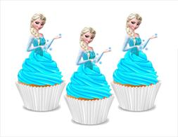 12x EDIBLE Elsa Frozen Princess half body Wafer Card cupcake