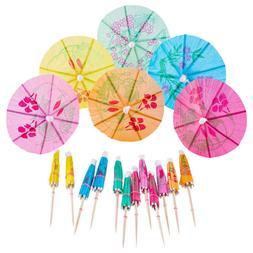 144pcs cocktail picks parasols cupcake toppers paper