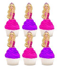14x EDIBLE Barbie Princess half body wafer card cupcake cake