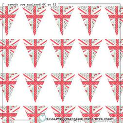 15 or 30 Edible Union Jack Shabby Chic  Bunting Cake | Cupca