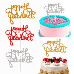 5/15 PCS Glitter Paper Happy Birthday Cake Topper Cupcake De