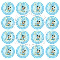 16x EDIBLE Baby Mickey Mouse 1st Birthday Cupcake Toppers Wa