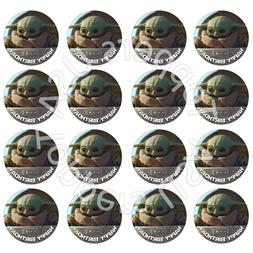 16x EDIBLE Baby Yoda Child Birthday Cupcake Toppers Wafer Pa