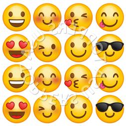 16x EDIBLE Emoji Smiley Faces Cupcake Toppers Wafer Paper 4c