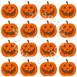 16x EDIBLE Halloween Pumpkin Face Cupcake Toppers Wafer Pape