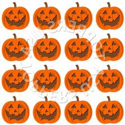 16x EDIBLE Halloween Pumpkin Face Cupcake Toppers Wafer Pape