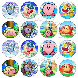 16x EDIBLE Kirby Birthday Party Cupcake Toppers Wafer Paper