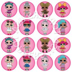 16x EDIBLE LOL Dolls Birthday Party Cupcake Toppers Wafer Pa