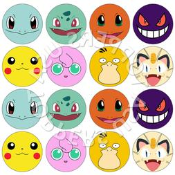 16x EDIBLE Pokemon Faces Birthday Cupcake Toppers Wafer Pape
