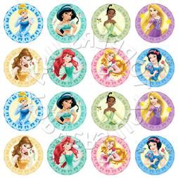 16x EDIBLE Disney Princess Assorted Cupcake Toppers Wafer Pa
