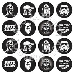 16x EDIBLE Star Wars Birthday Party Cupcake Toppers Wafer Pa