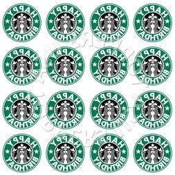 16x EDIBLE Starbucks Logo Birthday Party Cupcake Toppers Waf