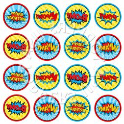 16x EDIBLE Super Hero Comic Words Party Cupcake Toppers Wafe