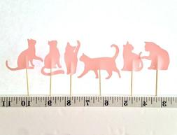18 PASTEL PINK CAT CUPCAKE TOPPERS BIRTHDAY BABY SHOWER PART