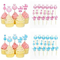 18 Pcs Baby Shower Cupcake Toppers Boy Girl Favors Party Dec