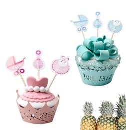 18pcs Baby Shower Birthday Topper Cupcake Decor Party Cake T