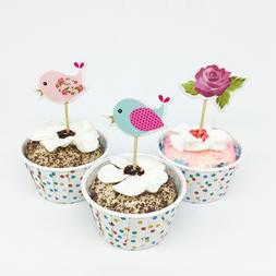 18pcs/lot Flower Bird <font><b>Cupcake</b></font> <font><b>T