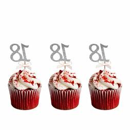 18th Birthday Cupcake Toppers –Glittery Silver with Light