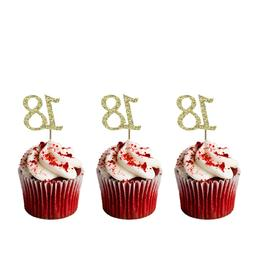 18th Birthday Cupcake Toppers - Number 18 – Glittery Dark