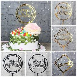 1PC Multi-color Cupcake Toppers Glitter Happy Birthday Cake