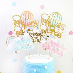 1pc single side cake topper gold glitter