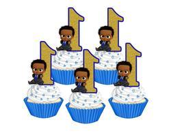 1st Birthday Dark skinned Boss Baby cupcake toppers,cakepop