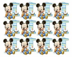 1st Birthday Mickey Mouse Cupcake Toppers Edible Image
