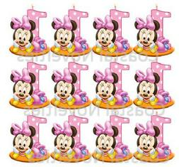 1st Birthday Minnie Mouse Cupcake Toppers Edible Image
