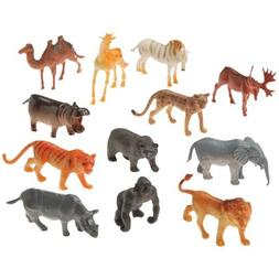 "2 Dozen  Mini Plastic Wild ZOO ANIMAL Figures 2.5"" TOYS Birt"