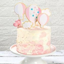 2 Pcs Birthday Hot Air Balloon With Clouds Birthday Cake Dec