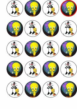20 Tweety pie edible cup cake toppers,.perfect for any occas