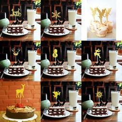 20 x Paper Christmas Snowflake Deer Cupcake Pick Cake Topper