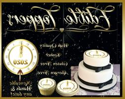 2020 New Year's Eve Clock edible Cake toppers picture transf