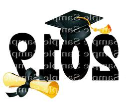 2019 Graduation Cap & Diploma ~ 2D Edible Fondant Cake Cupca