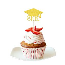 20pcs Glitter 2018 Graduation Cap Cupcake Picks Cake Toppers