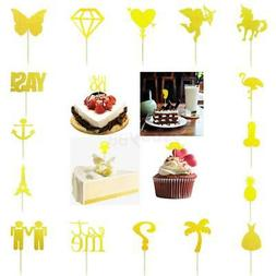 20pcs Glitter Cupcake Toppers Wedding Birthday Party Cake Ce