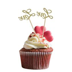 20pcs Glitter Gold LOVE Cake Cupcake Toppers Wedding Engagem