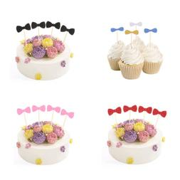 20pcs Glitter Paper Bow Cupcake Topper Wood Toothpicks Kids