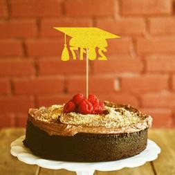 20pcs Gold 2017 Graduation Grad Caps Cake Toppers Cupcake Pi