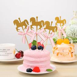 NUOBESTY 20Pcs Lovely Carousel Shape Cake Toppers Delicate C