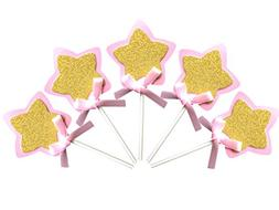 21-pac Pink and Gold Star Cupcake Toppers Picks, Glitter Sta