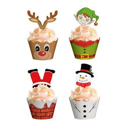 24/48PCS Christmas Cake Wrappers Toppers Cupcake Party Decor