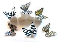 24 Animal Print Edible Wafer Paper Butterflies Mini Very Sma
